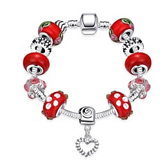 Chinese Style Sweet Women's Rhinestones Stoving Varnish Glass Silver Plated Tin Alloy Charm Bracelet(Multicolor)(1Pc)