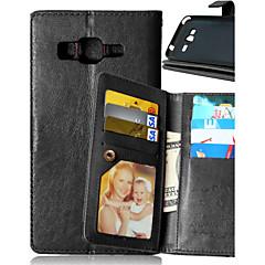 For Samsung Galaxy etui Kortholder Pung Med stativ Flip Etui Heldækkende Etui Helfarve Kunstlæder for Samsung J5 J1 Grand Prime Core Prime