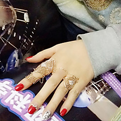 Lady's Fashion Hollow Out Inlay Diamond Rhombus Alloy  Rings