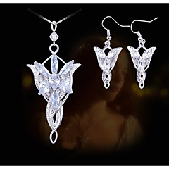 European Style Fashion Lord of the Rings Wizard Princess Evenstar Necklace Earrings Set
