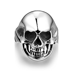 Individual No Decorative Stone Men's Stoving Varnish Nose with Heart skull Stainless Steel Ring(Black)(1Pc)