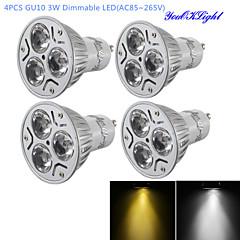 YouOKLight® 4PCS Dimmable LED 3W GU10 280LM White/ Warm White 3-High Power LED Spot Light Bulb-(AC110-120V / 220V-240V)