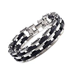 Men's Fashion Silica Gel and Titanium Steel Double Layer Bracelet (1.6cm*22.3cm)
