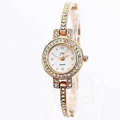 Damen Modeuhr Armband-Uhr Quartz Legierung Band Elegante Gold Golden