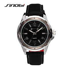 SINOBI® Male Casual Aports Quartz Wrist Watches Black Leather Waterproof Mens Brand Military Designer Wristwatches Cool Watch Unique Watch