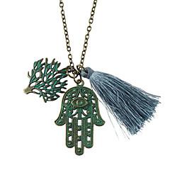 New Fashion Leaf Hand Shape Tassel Long Fancy Necklace