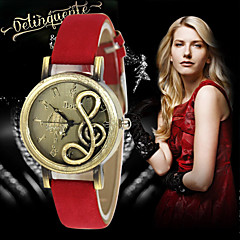 Dames Modieus horloge Kwarts Leer Band Zwart / Rood / Bruin / Groen / Paars Merk-