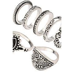 Women's Fashion Personality Style Carved Alloy Diamond Joint Ring Suit 01