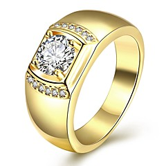 Hot ale Yellow Gold Finih 925 terling ilver Ring For Men With 6X8Mm Oval Cubic Zirconia  Jewelry