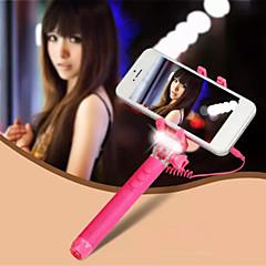 mini-monopode réglable ultra avec flash LED lumineux support de téléphone portable universel selfie bâton