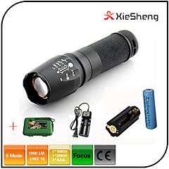 Valaistus LED taskulamput LED 1000 lumens Lumenia 5 Tila Cree XM-L T6 18650Säädettävä fokus / Vedenkestävä / ladattava / Iskunkestävä /