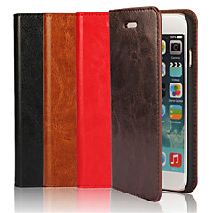Genuine Leather Crazy Horse Flip Cover Wallet Card Slot Case with Stand for iPhone 6 (Assorted Colors)