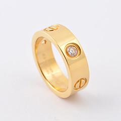 Anéis Casamento / Pesta / Diário / Casual / Esportes Jóias Aço Titânio / Chapeado Dourado Feminino / Masculino / Casal Anéis Grossos 1pç,