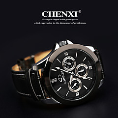 Men's Classic Business Style Leather Strap Quartz Watch