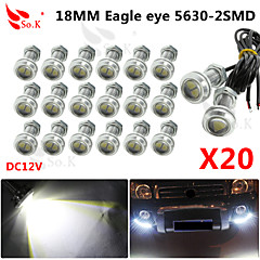 20 X 9W LED Eagle Eye Light Car Fog DRL Daytime Reverse Backup Parking Signal 12V