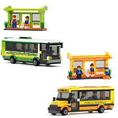 format plastique heureux de la joie des enfants de bus de ville intelligente bâtiment d'assemblage de jouets de bloc pour des blocs de