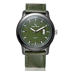 Herren Armbanduhr Quartz Kalender Leder Band Schwarz / Braun / Grün Marke- V6