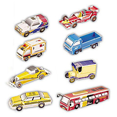 Jigsaw Puzzles 3D Puzzles Building Blocks DIY Toys Car Paper Red / Blue / Yellow Model & Building Toy