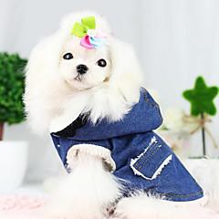 Hund Frakker Denimjakker Hundetøj Hold Varm Mode Jeans Blå