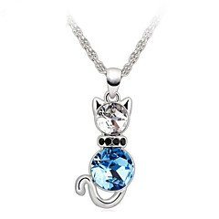 Women Necklace ELegant Crystal Lovely Cat Pendant Necklace