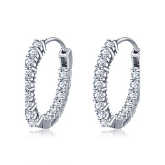Hoop Earrings Silver Sterling Silver Zircon Circle Round Geometric Jewelry For Wedding Party Daily Casual 1set