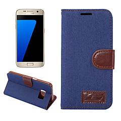 Για Θήκες Καλύμματα Πορτοφόλι Θήκη καρτών με βάση στήριξης Ανοιγόμενη Πλήρης κάλυψη tok Μονόχρωμη Σκληρή Ύφασμα για SamsungS8 S8 Plus S7