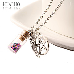 HUALUO®Angel Wings Pentagram colored glass beads pendant necklace