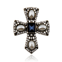 Damskie Kryształ Perłowy Imitacja pereł Kryształ górski Stop Postarzane Viktoriánské Oświadczenie Biżuteria Cross Shape BiżuteriaImpreza