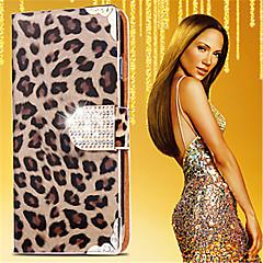 For Kortholder Rhinsten Med stativ Flip Mønster Etui Heldækkende Etui Leopardmønster Hårdt Kunstlæder for Samsung Note 5
