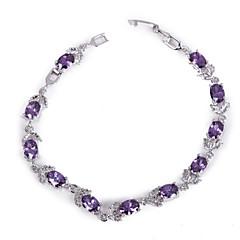 Elegant Purple Colorful AAA Zircon Platinum Plated Titanium Steel Bracelet for Women Gift,Fine Jewelry