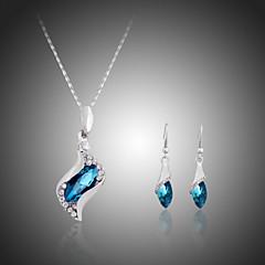 Smykkesæt Krystal Sølvbelagt Imitation Diamond Mode Rosa Blå Smykke Sæt Fest Speciel Lejlighed Fødselsdag Forlovelse Bryllupsgaver