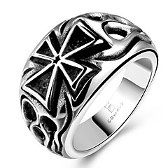 generoso anel indivíduo não dos homens de pedra decorativos stoving verniz cruz de aço inoxidável (preto) (1pc) jóias