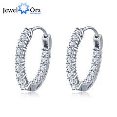 Earring Round Hoop Earrings Jewelry Women Wedding / Party / Daily / Casual Silver / Sterling Silver / Zircon 1set Silver