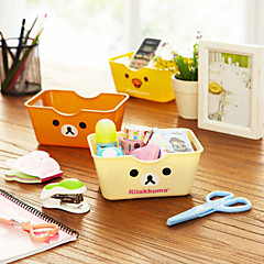 1PC Cute Cartoon Bear Plastic Square Easily Desktop Receive Box Sundry Basket(Style random)
