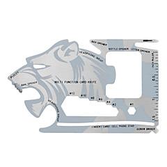 Fura ulkona monitoiminen ruostumattomasta teräksestä kortti taskussa työkalu - hopea + harmaa