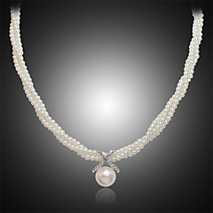 Lucky Doll Alloy / Imitation Pearl / Rhinestone / Silver Plated Necklace Pendant Necklaces Party / Daily 1pc