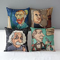مجموعة من 4 أشخاص على غرار الرسوم المتحركة الشهير الحديث نمط القطن / الكتان ويغطي وسادة الزخرفية