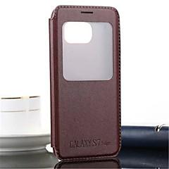 For Samsung Galaxy S7 Edge Med stativ Med vindue Flip Præget Etui Heldækkende Etui Helfarve Kunstlæder for SamsungS7 edge S7 S6 edge plus
