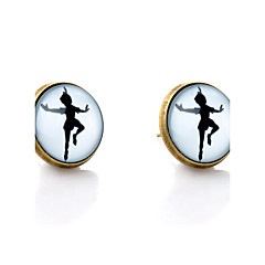 Lureme® Vintage Jewelry Time Gem Series The Girl Dancing Antique Bronze Stud Earrings for Women