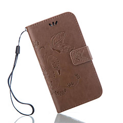 Για Samsung Galaxy Θήκη Θήκη καρτών / Πορτοφόλι / με βάση στήριξης / Ανοιγόμενη / Ανάγλυφη tok Πλήρης κάλυψη tok Πεταλούδα Συνθετικό δέρμα