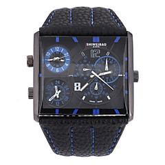 Men's Military Fashion Square Double Time Leather Band Quartz Watch Wrist Watch Cool Watch Unique Watch