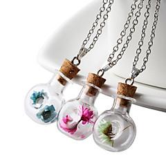 HUALUO®Wishing bottle dried flowers handmade sweater chain necklace pendant handmade glass bottle