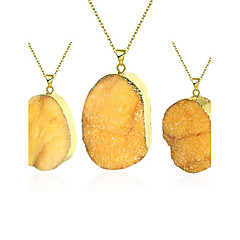 Agate stone necklace Orange natural crystal stone pendant necklace set 18k gold chain sweater chain for women N002-A