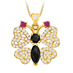 Zirconia Animal Jewelry Butterfly Pendant Necklace 18K Gold Plated Luxury Austrian Crystal Jewelry Women Gift P30109