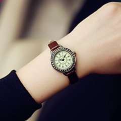 Mulheres Relógio de Moda Quartz Relógio Casual Couro Banda Vintage Preta / Marrom marca-