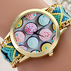 Women's Fashionable Leisure Retro Hand-woven Striped Multicolor Flowers Dia Watch Cool Watches Unique Watches