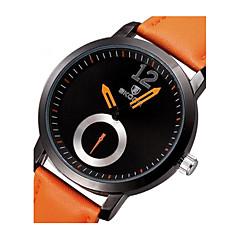 Herr Armbandsur Japansk kvartsur Läder Band Svart Orange Brun Stämpla