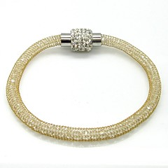 Full Stone Magnetic Clasp Net Wire Stainless Steel Cuff Bangle
