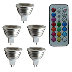 5 pcs SchöneColors® MR16 4W 1X3W LED Dimmable/21Keys Remote-Controlled/Decorative RGB Spotlights AC/DC 12V
