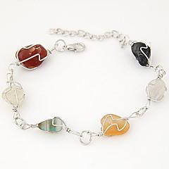 Women's European Style Fashion Metal Multicolor Crushed Stone Charm Bracelets